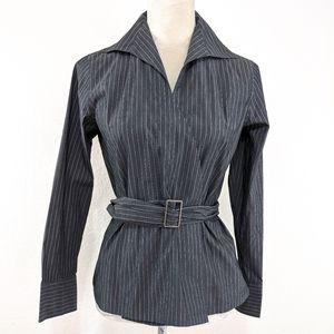 Talbot's Grey Pin Stripe Belted Dress Shirt 8P